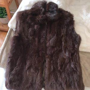 Chocolate brown rabbit fur vest